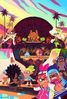 Splatoon concert by Splatoon 2 Game, Splatoon Comics, Gamers Anime, Video Game Art, Super Smash Bros, Animal Crossing, Cool Art, Pokemon, Images