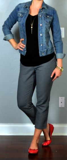 outfit post:: jean jacket black shirt grey tailored ankle pants red ballet flats