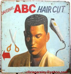 African barber signThese are hand painted signs for street barbers. All are from Ghana and measure about 4 feet long.