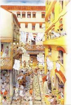 Daily life around a Roman insula. Roman apartment buildings contained vendors on the first floor and living quarters on the floors above. The apartments in the insulae lacked most basic amenities, such as kitchens and bathrooms. As a result, Romans lived a highly communal lifestyle. The lower classes used public baths and toilets, ate in restaurants, and spent leisure time in common spaces, like the forum.