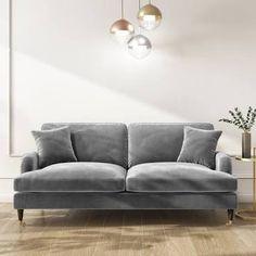 Silver Velvet Sofa, Navy Blue Velvet Sofa, Living Room Trends, Living Room Grey, Living Room Sofa, Silver Living Room, Dining Rooms, Three Seater Sofa, Grey 3 Seater Sofa