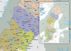 Sweden Political Map Wall Maps, Vinyl Banners, Sweden, Politics, Prints, Poster, Billboard