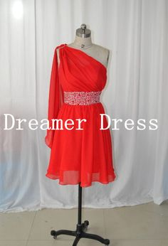 One Shoulder cheap Chiffon Red prom  Dresses, Short Prom Gown, Short Cocktail  Dress , Red Prom Gown