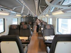 First class compartment of the Frecciarossa Mode Of Transport, Public Transport, Cargo Trailer Conversion, Cargo Trailers, Rolling Stock, Transportation Design, Cairo, High Speed, Planes