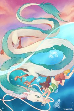 Chihiro and Haku as a dragon playing together in the river Studio Ghibli Tattoo, Studio Ghibli Art, Studio Ghibli Movies, Hayao Miyazaki, Totoro, Spirited Away Haku, Chihiro Y Haku, Japanese Characters, Fantasy Creatures