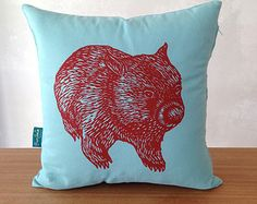 Ben Wombat front and back cushion cover // australian animal cushion cover// wombat cushion cover Australian Gifts, Australian Animals, Animal Cushions, Cushion Inserts, Pet Bottle, Wombat, Screen Printing, Great Gifts, How Are You Feeling