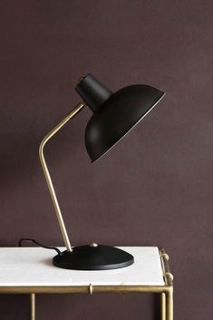 For classic midcentury styling - this lovely simple desk lamp has enough interest in it's curves and a wide lamp to illuminate perfectly. This lamp will work on any sleek desk, but will really shine on a midcentury wood one, on point. Table Lamps Uk, Table Lamp Shades, Black Table Lamps, Bedside Table Lamps, Ceramic Table Lamps, Desk Lamp, Retro Desk, Retro Lamp, Retro Table