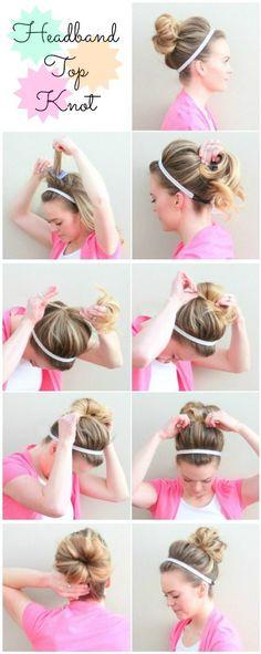 Technique et tuto coiffure chignon headband à positionner sur des cheveux longs ou mi longs, faire un joli chignon autour du headband cheveux enroulés.
