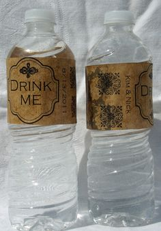 Custom Rustic Vintage Wedding Water Bottle Labels by TwineDecor