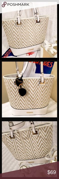 NWT Beautiful Summer Bag in White and Straw Finish NWT New Beautiful Dune Bag in White & Straw Finish ☀️ Perfect Summer Bag Dune Bags Shoulder Bags