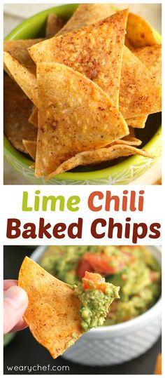 These easy baked corn tortilla chips with lime and chili flavor are low in fat and perfect for dipping! Baked Corn Tortilla Chips, Baked Corn Tortillas, Corn Tortilla Recipes, Tortilla Bake, Homemade Corn Tortillas, Homemade Chips, Corn Chips, Baked Chips, Healthy Tortilla Chips