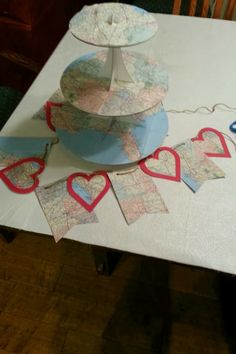 map/travel themed going away party. Going Away Parties, Travel Themes, Tiered Cakes, Bunting, Platter, Wedding Reception, Cupcakes, Map, Decoration