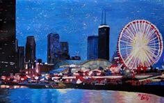 Chicago Skyline With Ferris Wheel