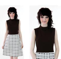 70s Mod Dress 60s Brown Plaid Mini ALine by neonthreadsdesigns, $37.00