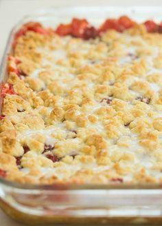 Cream Cheese Cherry Pie Crumb Bars | browneyedbaker.com #recipe
