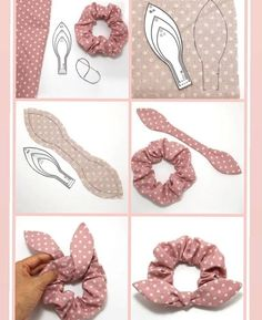 Diy Hair Scrunchies, Diy Hair Bows, Diy Jewelry Repair, Diy African Jewelry, Sewing Crafts, Sewing Projects, Baby Booties Knitting Pattern, Cute Animal Drawings Kawaii, Diy Ribbon