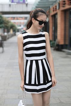 Round collar stripe chiffon dress, sleeveless dress ghl1005, yrb, fashion, yrbfashion, cute dress, cute, uk europe usa style, asian fashion,...