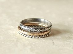 Bohemian Ring Stack  Silver and Gold by fruitionLA on Etsy