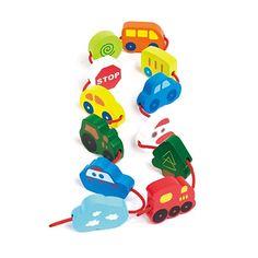 $8.99, Hape Qubes Lacing Vehicles Toddler Wooden Block Playset