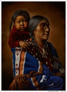 Apsaroke Mother by wendelin.deviantart.com on @deviantART - Referenced from a photo by Edward S. Curtis: http://curtis.library.northwestern.edu/viewPage.cgi?showp=1&size=2&id=nai.04.book.00000046.p&volume=4