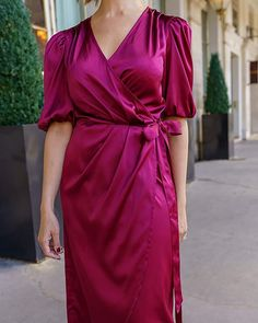Polyester Satin, Hemline, Wrap Dress, Give It To Me, Burgundy, Drop, Accessories, Clothes, Dresses