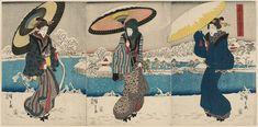 "Utagawa Hiroshige I 歌川広重 ""Snow Scene at Shinobazu Pond in Ueno"", about 1848–49  「上野不忍の池雪の景」 Woodblock print (nishiki-e); ink and color on paper"