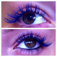 Blue eyelash extensions