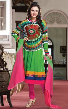 RED & GREEN GEORGETTE ANARKALI SALWAR KAMEEZ - CRO 5005