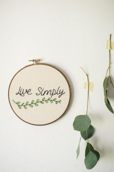 Live Simply Embroidery Art                                                                                                                                                                                 More #embroiderypatterns