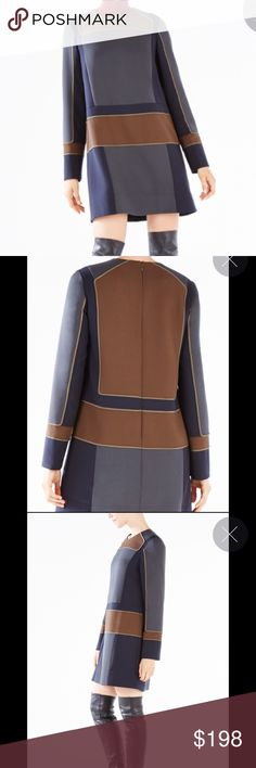 """BCBGMAXAZRIA """"Jovitta"""" Runway Dress From the Exclusive Runway collection, color blocked, easy fit, short hemline (approximately 33 inches from the neck to the hemline), piping detail throughout, long sleeves, hidden zipper closure in the back BCBGMaxAzria Dresses Mini"""