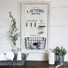 Our laundry sign is a LARGE wood laundry board that's farmhouse vintage inspired. It's the perfect sign to add charm to your space. For more visit, Decor Steals