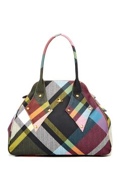 Structured plaid bag