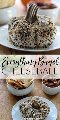 Serve a pumpkin-shaped Everything Bagel Cheese Ball Fall appetizer for your next party, always a hit! Easy to make-ahead in 15 minutes and take to a party. #cheeseball #appetizer #thanksgivingideas #easy #recipe #everythingbagel #pumpkin