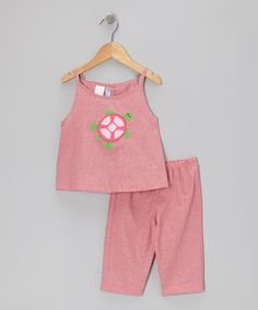 Loving this Red Gingham Sea Turtle Tank & Capri Pants - Infant & Toddler on #zulily! #zulilyfinds