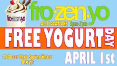 No we are not fooling you!  We want to start the Spring off right, so we are offering everyone FREE YOGURT from 2pm to 7pm on April 1st!