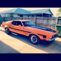 The star of MY show.Beatrix - our 1972 Mach 1 351 in Grabber Orange (not an original 72 colour) 1973 Mustang, Mustang Mach 1, Mustang Fastback, Ford Mustang Shelby, Mustang Cars, Ford Mustangs, Yellow Mustang, Classic Mustang, Ford Classic Cars