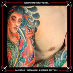 Designed and Tattooed by: Sjonnie Gentille Dragon Tattoo. Japanese Colors, Dad Tattoos, Religious Images, Chicano, Geisha, Top Artists, Dragon, Sleeve, Manga