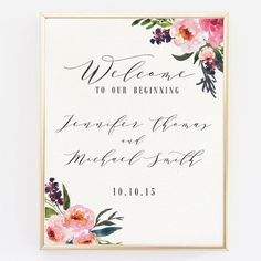 Printable Wedding Welcome Sign Personalized by LoveSupplyCo