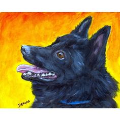 Schipperke Dog Art 8x10 Print of Original Painting by Dottie Dracos, Skippy Profile