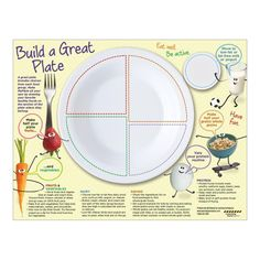"""8 ½"""" x 11"""", 50 sheets, 2-sided Friendly and fun food characters deliver the message of balancing good foods with physical activity based on USDA's MyPlate with this tablet perfect for preschool and primary grades. Kid sized portions of healthy food choices are shown on each food group section of MyPlate. Tablet backside features a blank plate for kids to draw their favorite foods in the corresponding food group section of the plate and tips for parents for making the best choices from each food  Healthy Food Plate, Healthy Food Choices, Healthy Kids, Protein Fruit, Fat Free Milk, Usda Food, Health Lessons, Health Logo, Food Drawing"""