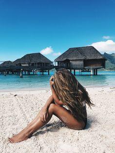 blonde, blonde hair, beach hair, beach waves, beach girl, Bora Bora, Travel, Ocean, water bungalows, bucket list, photography, jessakae, tan