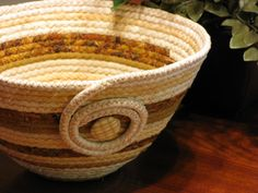 Coiled Fabric Basket  Bowl  Container  Clutter by DollPatchworks, $24.00