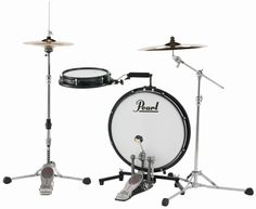 """The Pearl Compact Traveler Kit consists of an 18 """" bass drum and snare , which is attached to the bass drum with a special holder. This special drum set is ideal as a practice drum kit for schools, smaller stages. Tambour, Practice Drum Kit, Junior Drum Set, Compact, Drum Key, Drum Heads, Pearl Drums, The Expanse, Music Stuff"""