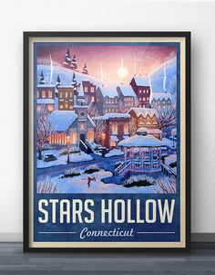 Stars Hollow Winter Holiday Travel Poster - Inspired by Gilmore Girls (Navy Blue) by WindowShopGal on Etsy https://www.etsy.com/listing/255377190/stars-hollow-winter-holiday-travel