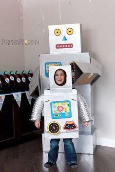 Kids Halloween costume from a cardboard box: Robot