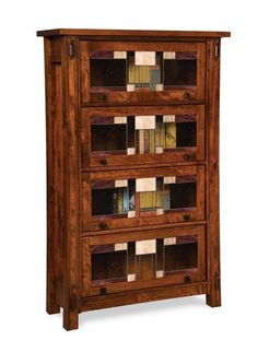 Craftsman Barrister Bookcase features stained glass and solid hardwood construction. Choose your wood and finish. Made in the USA by Amish craftsmen. Family Room Furniture, Amish Furniture, Wood Furniture, Mission Furniture, Simple Furniture, Office Furniture, Furniture Ideas, Barrister Bookcase, Bookcases