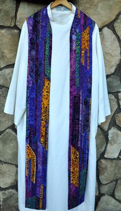 "Clergy Stole or Vestment  - ""Reflections on Lent"" Purple, Gold, multicolor. $350.00, via Etsy."