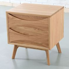 Arne Vodder Style Timber Bedside Table - Solid Oak Wood - 45x55x60cm-Angled Legs
