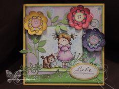 sommerliche Karte, bunt, handgemacht, Papierblumen, Papercus Design, handmade, Card, Paper Flowers
