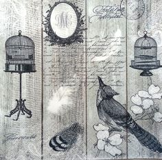 4 Single Vintage Table Paper Napkins Lunch for Decoupage Decopatch Royal Bird